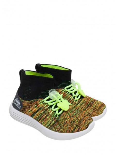 Кроссовки меланж с зелеными шнурками Gufo