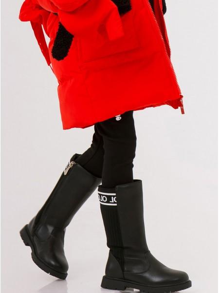 Сапоги кожаные с трикотажными вставками JO JO
