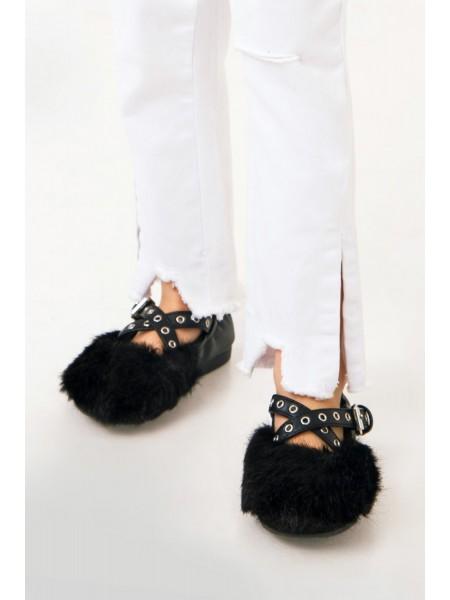 Балетки с меховым носком JO JO